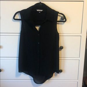 NAKED ZEBRA black sleeveless blouse